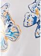 Mavi Kelebek Baskılı  Tişört Beyaz